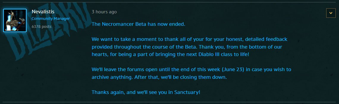 Necromancer Beta has Ended