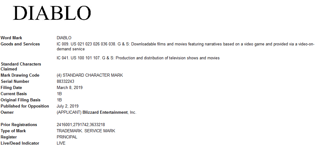 Diablo downloadable films and movies trademark